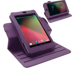 Leather Style Rotating Case for Google Nexus 7 - Purple
