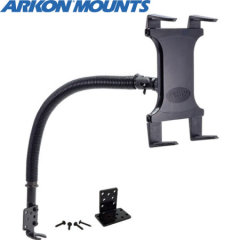 "Arkon's Universal Tablet Car Mount features an innovative holder that adjusts to fit any 7"" - 12"" tablet and attaches to your car's seat rail bolt. The gooseneck arm on this holder is 18"", making the mount ideal for most vehicles."
