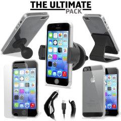 iPhone 5S/5用アクセサリー究極パック。車載ホルダー、カーチャージャー、スクリーンプロテクター(5枚入り)、FlexiShieldケース、2つのデスクスタンドが入っています。iPhone 5S/5に欠かせないアクセサリーのパックです