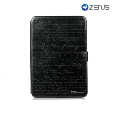 The black Zenus Galaxy Note 10.1 Masstige Lettering Folder Case is crafted from beautiful synthetic leather embossed with finely detailed English calligraphy to give a premium finish.
