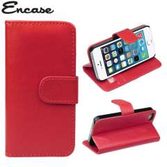 iPhone 5S / 5 Ledertasche im Brieftaschendesign in Rot