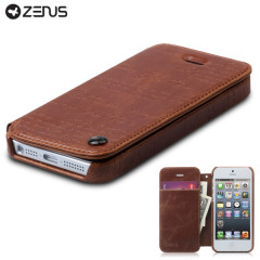 Housse iPhone 5S / 5 Zenus Masstige Lettering Diary Series - Marron