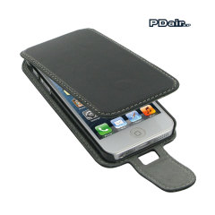 Custodia flip in pelle con clip PDair per iPhone 5S / 5 - Nero