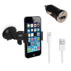 Ontworpen voor gebruik met de iPhone 5S / 5C / 5. Dit pakket laat je je iPhone 5S / 5C / 5 opladen en veilig monteren in elke voertuig.
