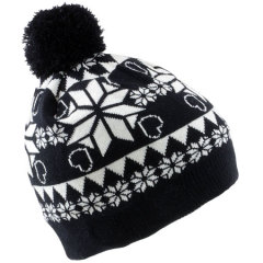 Kitsound Audio Beanie Snowflacke Pudelmütze in Schwarz