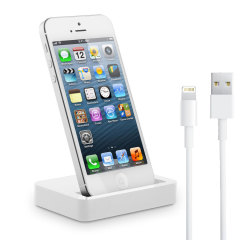 Base de carga y sincronizacion iPhone 5 con cable Lightning - Blanca
