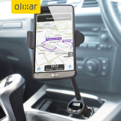 Wirelessly transmit music and hands-free calls through your car's stereo system, featuring a dock and charging facility all with the Olixar RoadTune Universal Hands-free In-Car Kit with FM Transmitter.