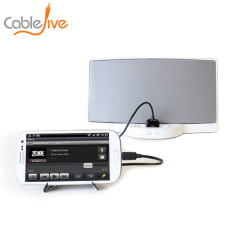 Connect your Samsung smartphone to any 30 pin Apple dock device for simultaneous charging and music playback using the CableJive SamDock.