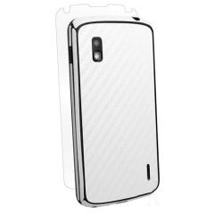 Film de protection LG Nexus 4 BodyGuardz Fibre de Carbone - Blanc