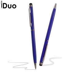 This blue iDuo Stylus Pen has an omnidirectional tip which works with all capacitive touchscreens.