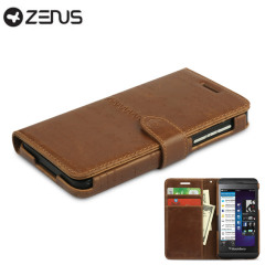 This brown leather Zenus Masstige Diary Case for the BlackBerry Z10 features a unique embossed lettering design and internal storage pockets.