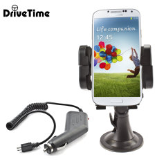 Hold your phone safely in your car with this fully adjustable DriveTime car holder with included car charger for your Samsung Galaxy S4.