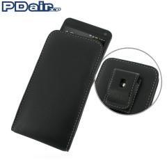 PDair Leren Pouch Case voor de HTC One 2013 met riemclip - Zwart