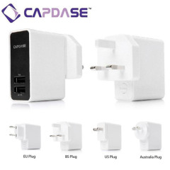 Capdase Dual USB World Power Adapter 3.1 Amp - Wit