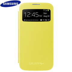 Genuine Samsung Galaxy S4 S-View Premium Cover Case - Yellow