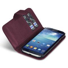 Custodia a portafogli in ecopelle per Samsung Galaxy S4 - Viola