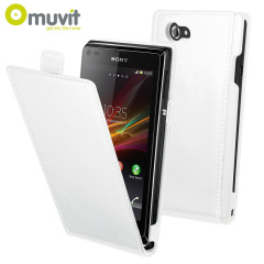 Muvit Slim Leather Style Flip Case for Sony Xperia L - White