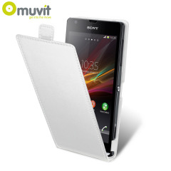 Muvit Slim Leather Style Flip Case for Sony Xperia SP - White