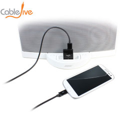 CableJive's dockBoss5 is a sleek adapter that converts Apple 30 pin dock stations to charge and play music from one or two devices.
