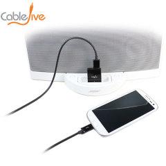 El adaptador DockBoss5 de Cable Jive es un elegante adaptador que tu estacion 30 pin en una base de carga universal con salida de audio.