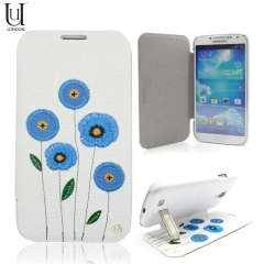 Uunique Poppy Flower Folio Case For Samsung Galaxy S4 - White/Blue