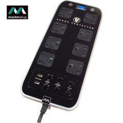 Masterplug Surge Protected 8 Plug Power Block with Dual USB - Black
