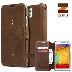 Zenus Vintage Diary Galaxy Note 3 Tasche in Braun