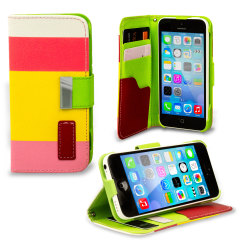 iPhone 5C Ledertasche Stripe Wallet Stand in Rot, Pink und Gelb