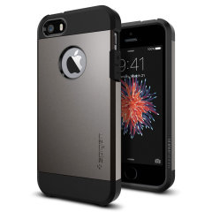 The SGP Tough Armor Case in metal slate is the ultimate protective case for the iPhone SE / 5S / 5, providing superb impact absorption due to Spigens air cushion technology.