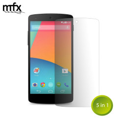 Keep your Nexus 5 screen in pristine condition with this pack of five MFX scratch resistant screen protector.