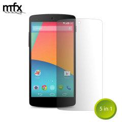 Mantenga la pantalla del Nexus 5 en perfecto estado con el protector de pantalla resistente a arañazos MFX.