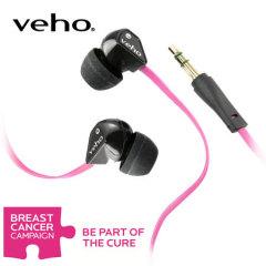 Ecouteurs isolant Veho 360 avec câble Flat Flex anti-nœuds - Rose