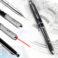 The Olixar Laserlight stylus pen is the ultimate 4-in-1 accessory for tablet and smartphone users, with a  ballpoint pen, stylus tip, laser pointer and LED mini torch all built into it!
