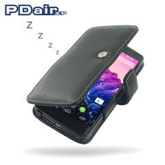 PDair Lederen Slaap/Waak Book case  voor Nexus 5 - Zwart