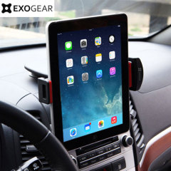 The ExoMount Tablet car holder is designed to allow you to position your 9 to 10 inch tablet in either landscape or portrait modes on your dashboard without blocking your view of the road.
