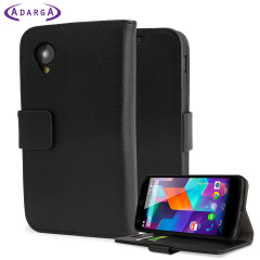 Adarga Leather Style Wallet Stand Case for Google Nexus 5 - Black