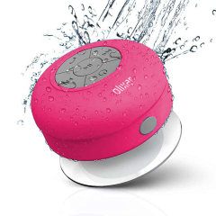 Enjoy listening to music while in the shower with the AquaFonik Bluetooth Shower Speaker in pink. With music playback controls and built-in microphone for those important phone calls that just can't wait.