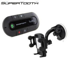 Boasting an incredibly compact and sleek contemporary design, the SuperTooth Buddy with Bluetooth in black offers a massive 20 hours of talk time and 1000 hours standby time. Also includes multi-fit suction phone holder.