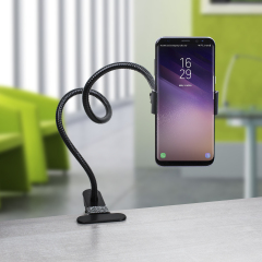 The Universal Gooseneck Clip-on Stand allows you to mount your device virtually anywhere you can think of, thanks to a flexible gooseneck design which provides various positions for your smartphone.
