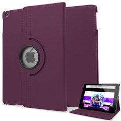 Funda Con Soporte Rotatorio Estilo Cuero para el iPad Air - Morada