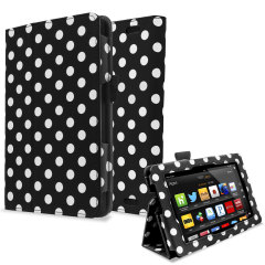 Protect and stand your Kindle Fire HD 2013 with this black and white polka dot Stand and Type Case, suitable for viewing movies and typing.