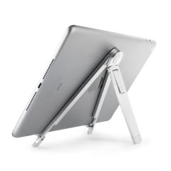 This ingenious, lightweight, fold able aluminium stand makes a great travel accessory that comes with a drawstring carry bag for extra mobility. Adjusts to two different angles for watching media and typing.