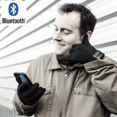 Bluetooth Gloves with Built-in Microphone & Speaker - Black