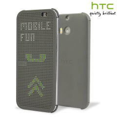 Original HTC One M8 / M8s Dot Flip Hülle in Grau