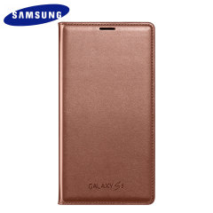 Original Galaxy S5 Tasche Flip Wallet Cover in Gold