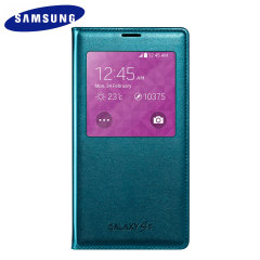 Official Samsung Galaxy S5 S-View Premium Cover Case - Blue Topaz