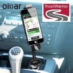 The Road Warrior Car holder features an integrated Lightning charger, additional 1 Amp USB Car Charger and FM Transmitter enabling you to wirelessly transmit music and hands-free calls through your car's stereo system.