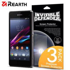Proteja la pantalla de su Sony Xperia Z1 Compact con este pack de 3 protectores Rearth Invisible Defender multi capas.