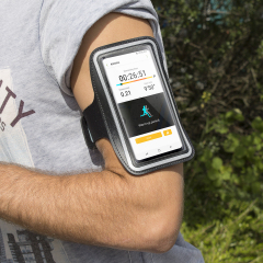 Carry your smartphone securely while you're exercising using the Universal Armband for Smartphones in black. This comfortable armband is adjustable and made out of a lightweight and breathable material.