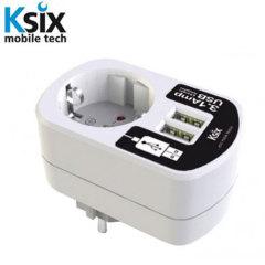 Ksix 3.1A  Dual USB Adapter und Netzstecker - Weiß